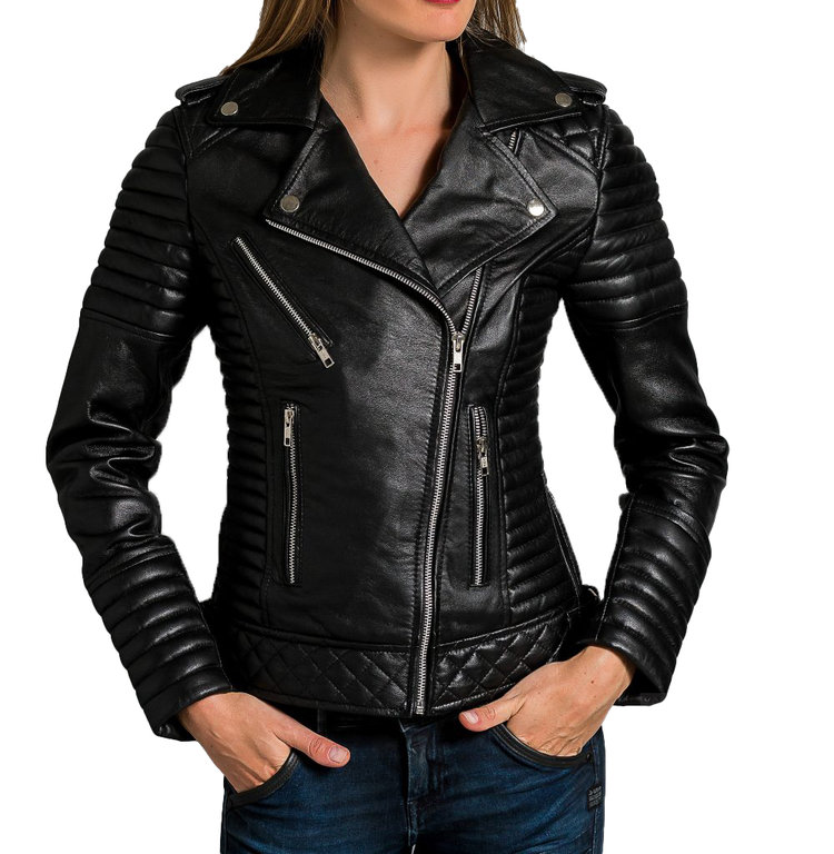 the latest 6296c 74cb7 Damen Bikerjacke Iris Lamm Nappa Leder