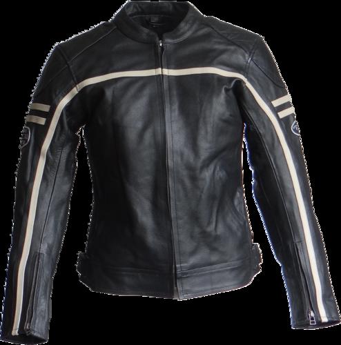 Damen Motorradjacke Lederjacke Schwarz mit Streifen aus