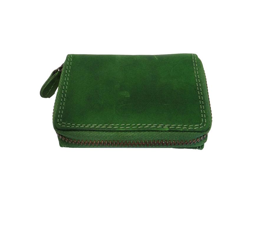 Hill Burry Geldbörse Geldbeutel mit umlaufendem Reißverschluß grün  neu