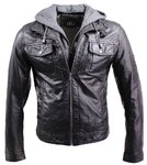 Mens leather jacket rex with detachable hood black